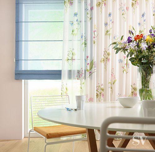 Fensterdekoration Jalousie und Vorhang - Raumausstattung Wallner
