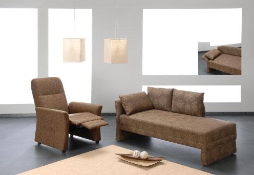 Polstermöbel Sofa und Sessel braun - Raumausstattung Wallner